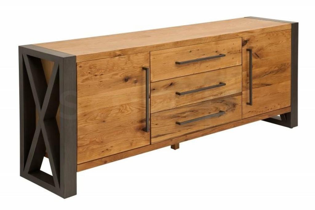 INVICTA komoda THOR 200 cm dziki dąb - drewno naturalne, okleina, metal