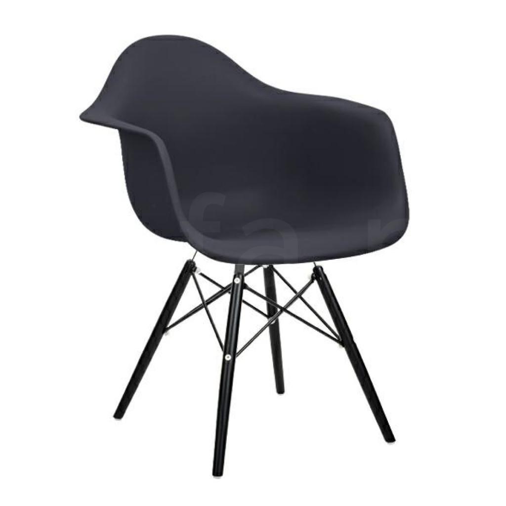 Fotel DAW BLACK antracytowy.39 - polipropylen, podstawa drewniana czarna