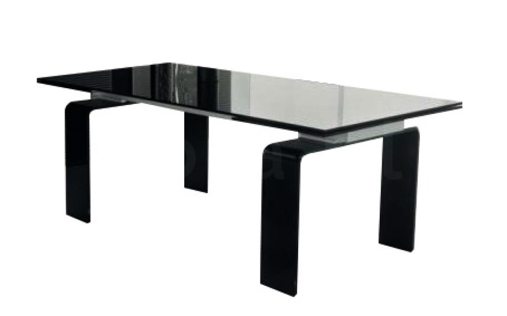Stół szklany ATLANTIS BLACK 160/240 - rozkładany, szkło czarne