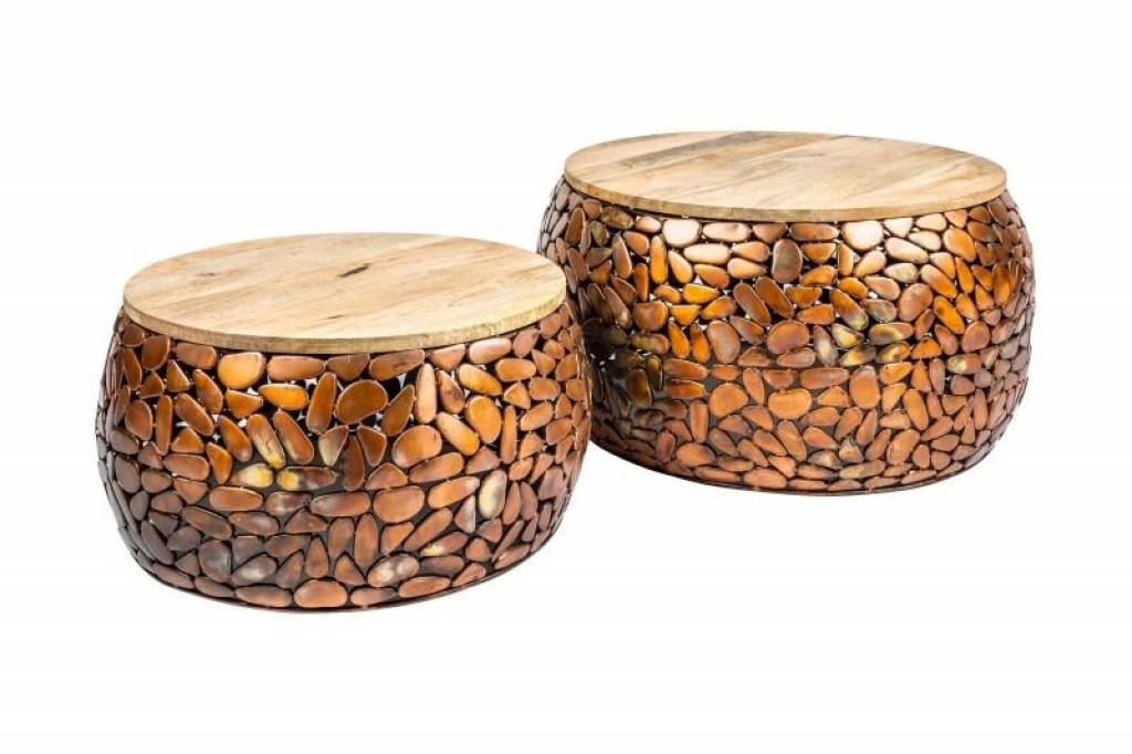 INVICTA stolik kawowy STONE MOSAIC - zestaw 2 sztuk miedziana akacja, drewno akacjowe, stop metalowo aluminiowy