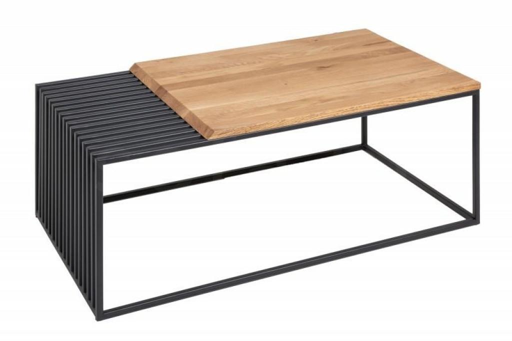 INVICTA stolik kawowy ARCHITECTURE  - 100 cm dąb, lite drewno, metal